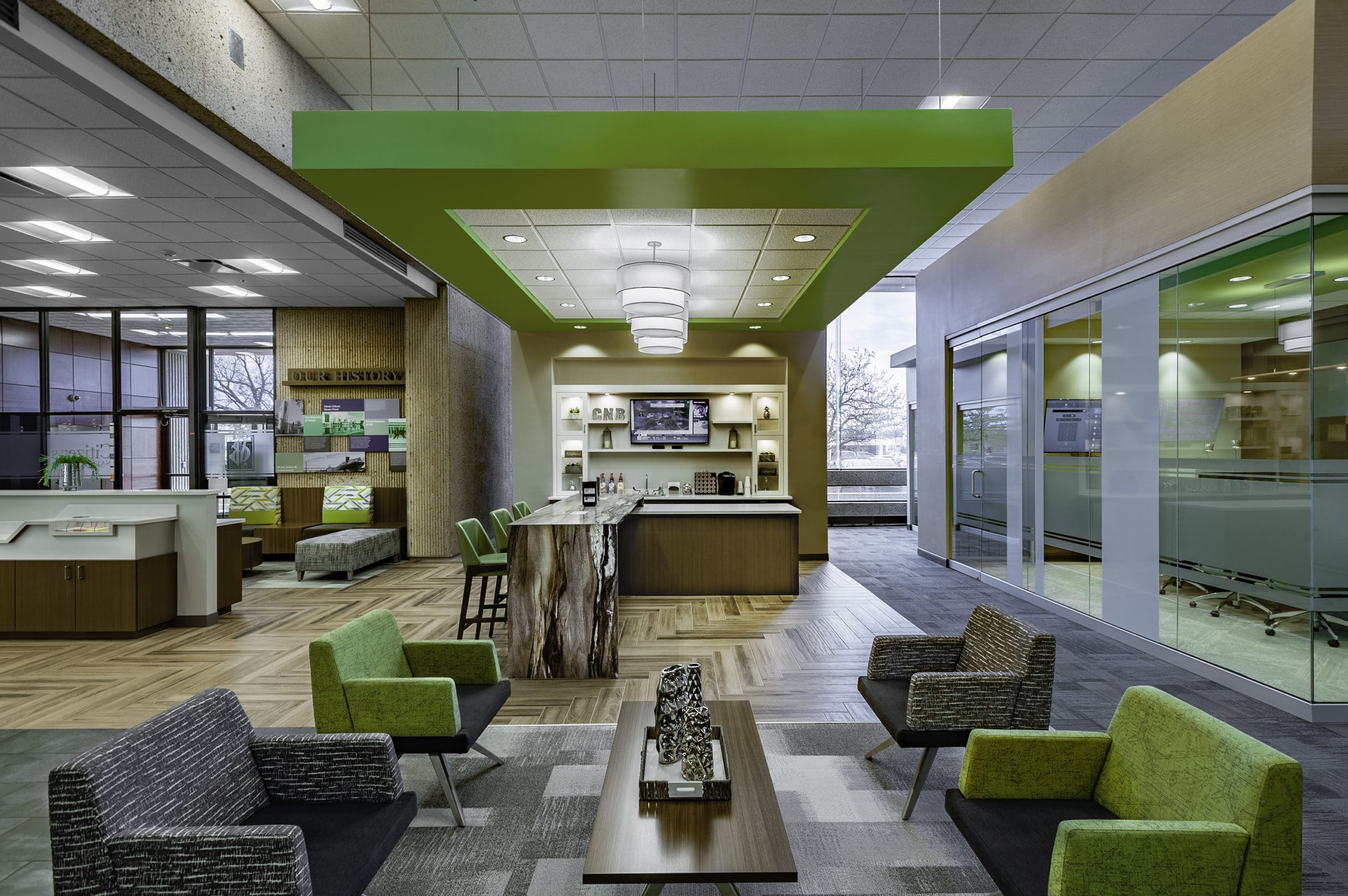 Post Pandemic Design Solutions; larger lobby space for social distancing